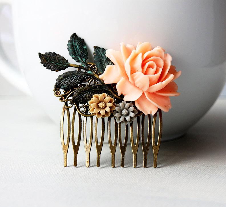 Mariage - Peach Rose, Latte, Grey Flowers with Verdigris Patina Leaves Hair Comb. vintage style, bridesmaid hair comb, wedding hair accessory