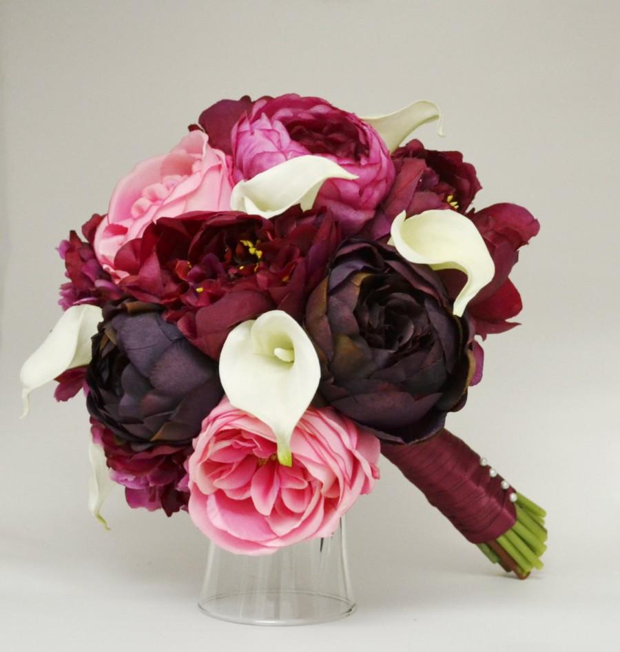 Purple red and pink bridal bouquet calla lilly peony garden rose and ranunculus bouquet - Red garden rose bouquet ...