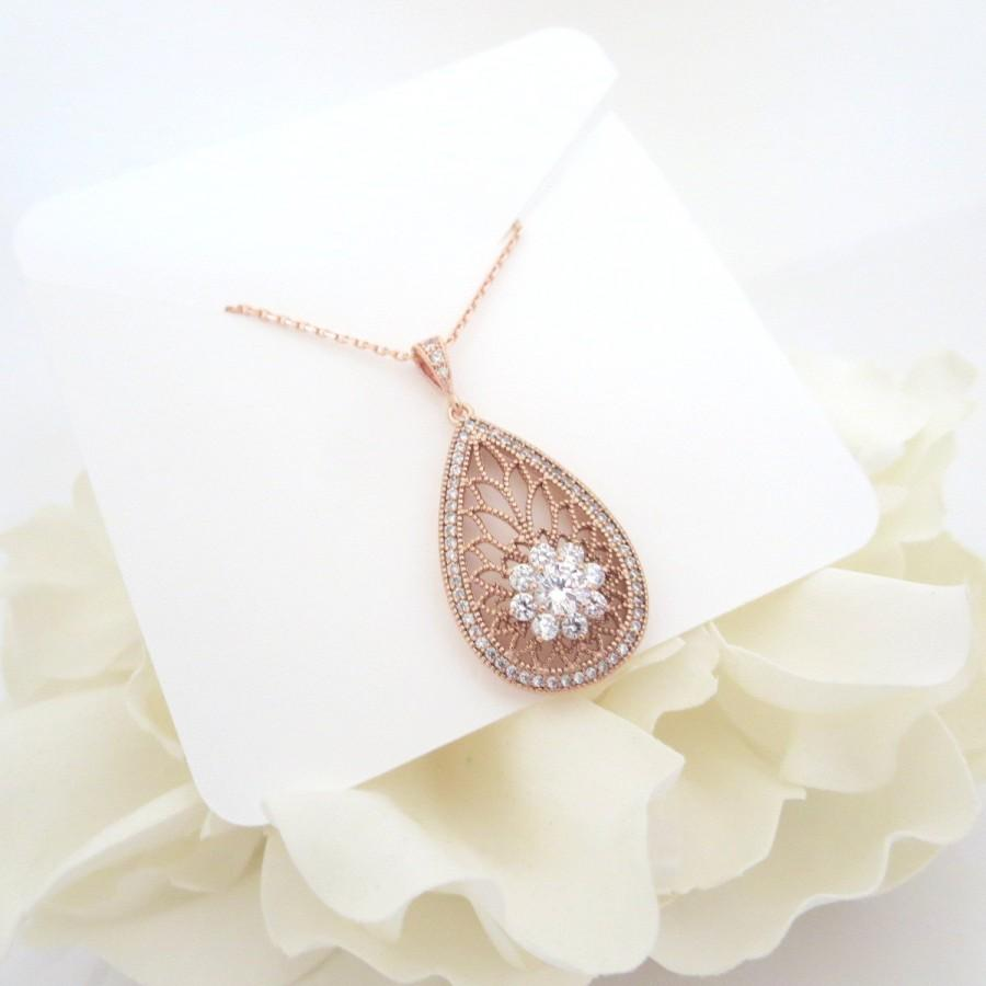 Mariage - Rose Gold Bridal necklace, Crystal Wedding necklace, Wedding jewelry, Bridesmaid necklace, Art Deco necklace, Rose Gold jewelry, Pendant