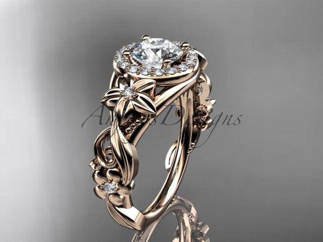 Mariage - 14kt pink gold diamond unique engagement ring,wedding ring ADLR300