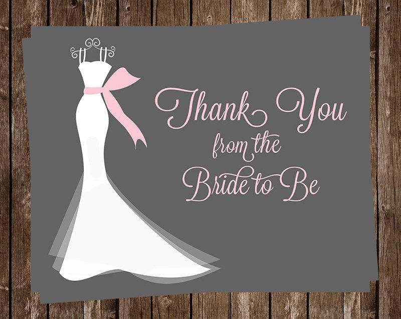 زفاف - Bridal Shower Thank You Cards, Wedding Dress, Pink, Gray, White, Gown, Set of 24 Printed Cards, FREE Shipping, ELGPK, Elegant Gown Pink