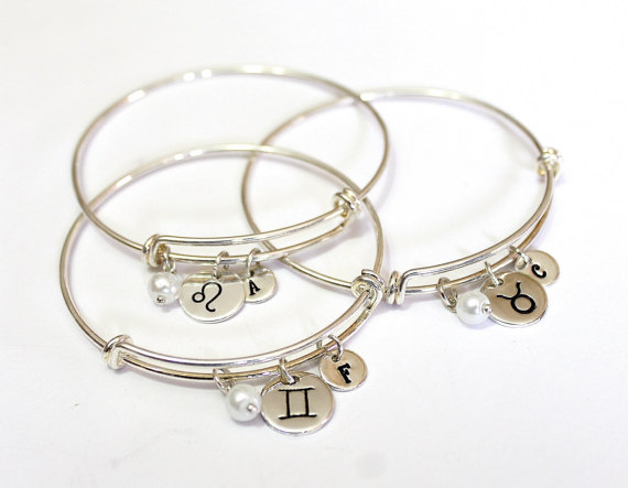 Zodiac Bracelet Silver Plated Astrology Jewelry Birthday Horoscope Bangle Charm Gift