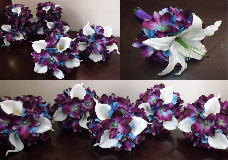 Mariage - Bridesmaids, maid of honor or toss bouquet with white Casablanca lily or real touch calla lilies, blue galaxy orchids, choose your orchid