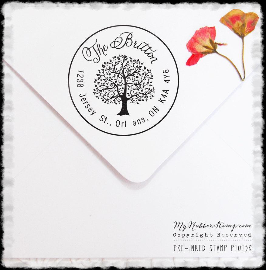 زفاف - Reserved Listing for caitiecollis Tree Personalized Pre-inked Stamp (Self Inking Stamp) Wedding Stamp, RSVP, Business Stamp (P1015R)