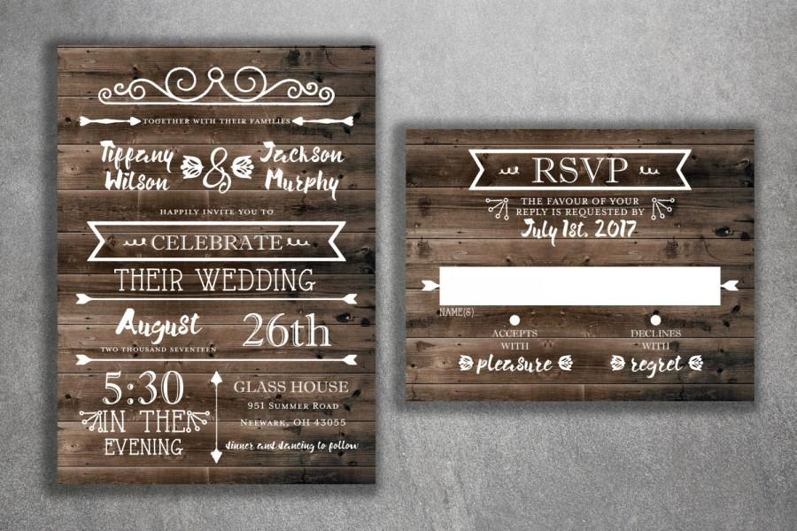 Country Rustic Wedding Invitations: Country Wedding Invitations Set Printed