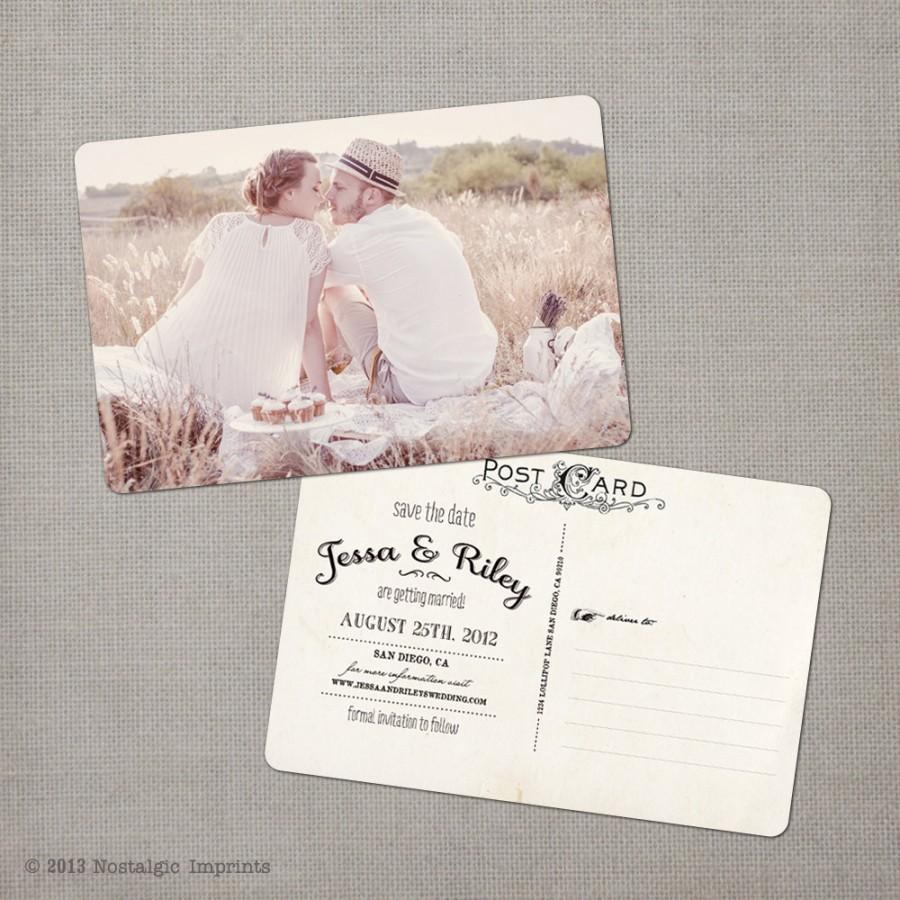 """Hochzeit - Vintage save the date postcard, 4x6, Save the date card, Unique save the date ideas - the """"Jessa"""""""