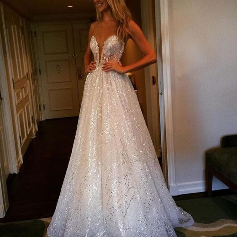 Mariage - Delicate A-line Wedding Dress - Lace Sequined Jewel Sweep Train Illusion Back