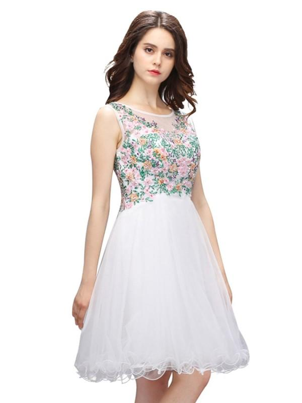 Wedding - Simple Scoop A-line Short Sleeveless Embroidered Homecoming Party Dress