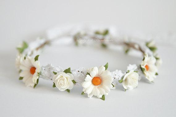 Mariage - White daisy flower crown - Daisy Floral crown - Daisies hair wreath - Flower girl halo - Rustic wedding Halo - Bridal hair boho crown