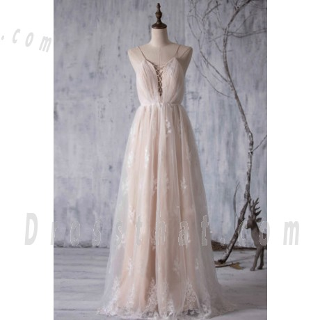 Wedding - Buy A-Line Wedding Dress - Spaghetti Straps Floor-Length Tulle Lace Backless A-line Wedding Dresses under $236.99 only in Dressthat.