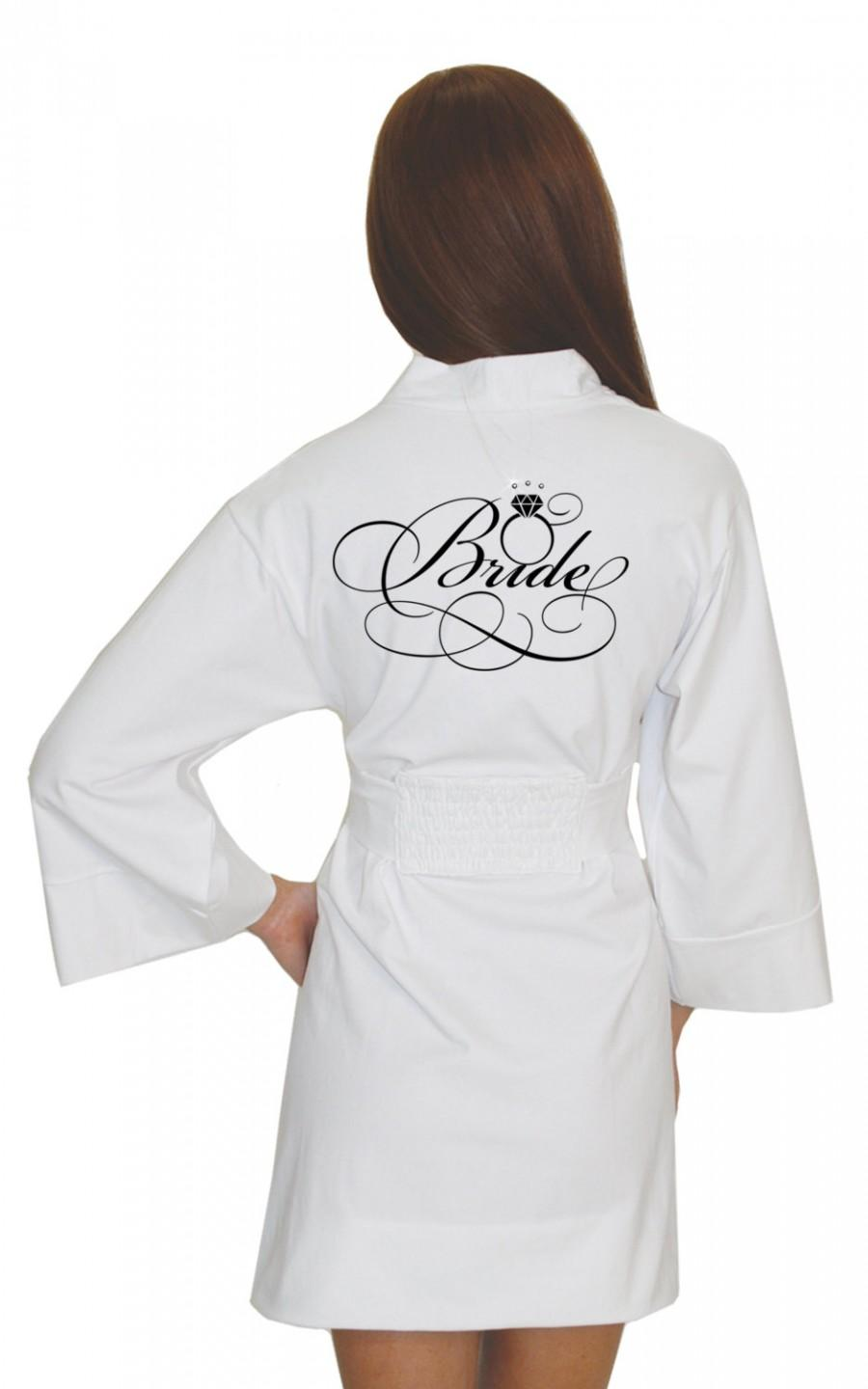 Mariage - White Bridal Robe, Bride Cotton Modal, Bridal Wedding Robe, Bridal Lingerie, wedding gift ideas, getting ready robe, honeymoon gift boudoir