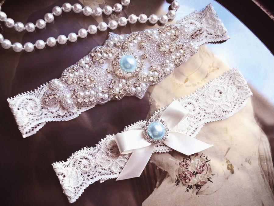 Wedding - Blue Wedding Garter Set, Blue Garter Set, White  Lace Wedding Garter, Something Blue, Crystal Garter, Rhinestone Garter,
