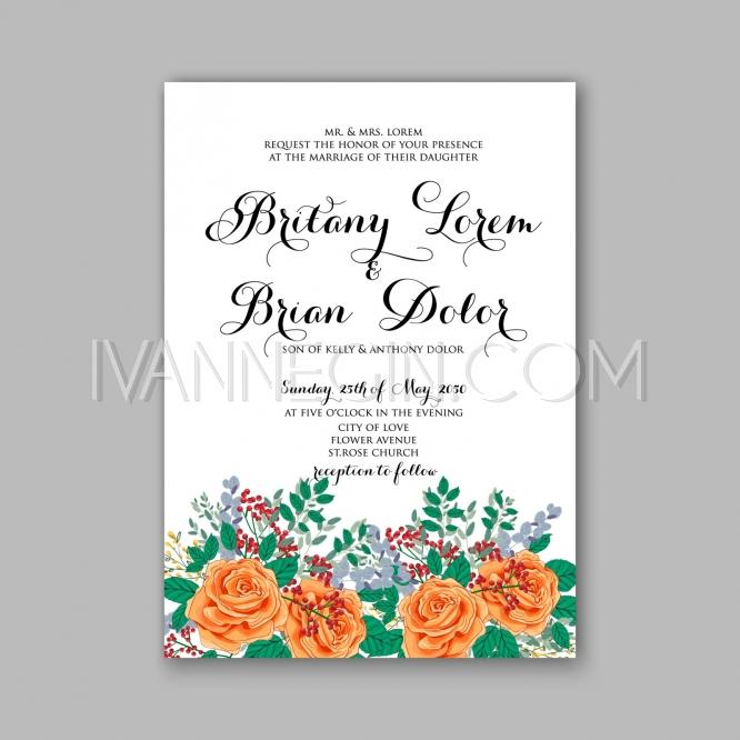 Rose wedding invitation card printable template in watercolor rose wedding invitation card printable template in watercolor style unique vector illustrations christmas cards wedding invitations images and photos stopboris Image collections