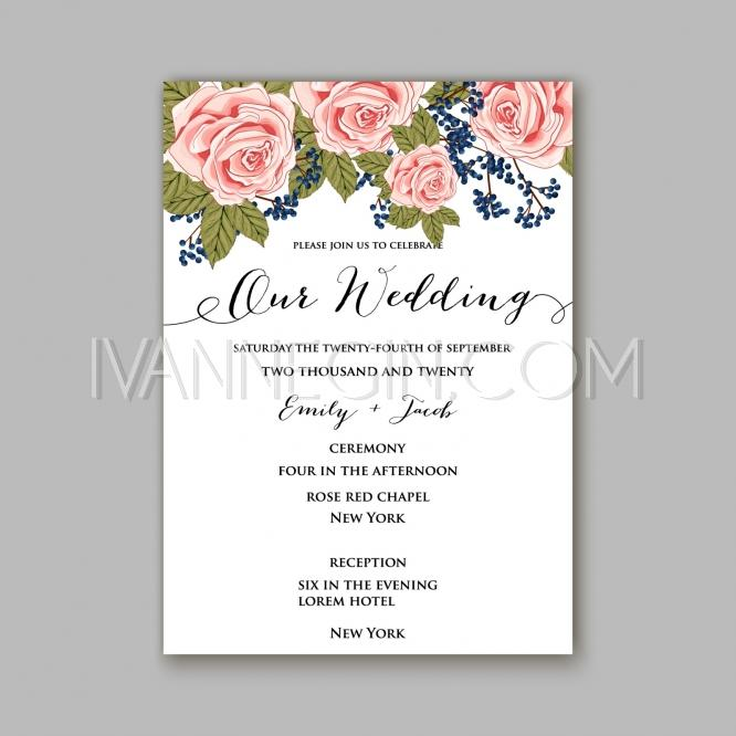 rose wedding invitation card printable template in watercolor style