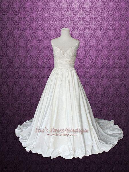 زفاف - Empire Spaghetti Thin Strap Lace Wedding Dress With Pockets