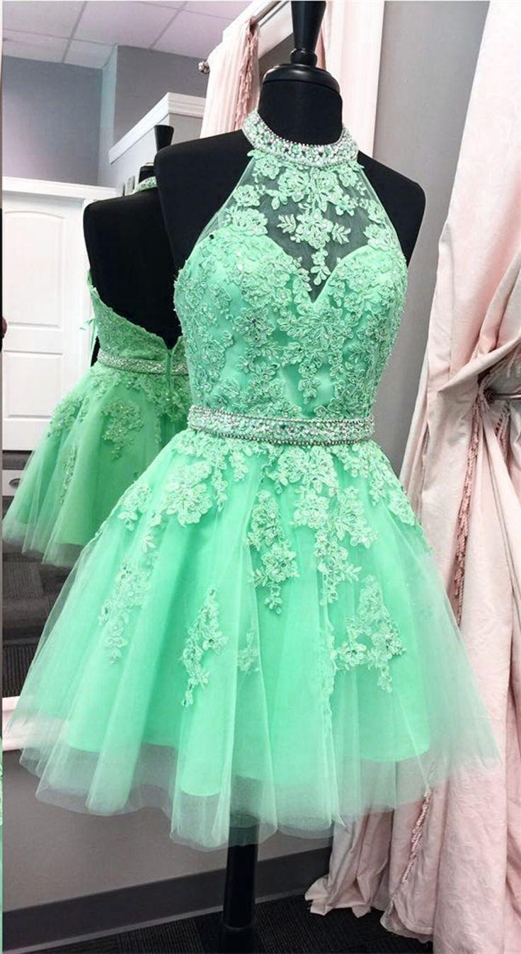 Wedding - Halter Homecoming Dress,tulle Homec