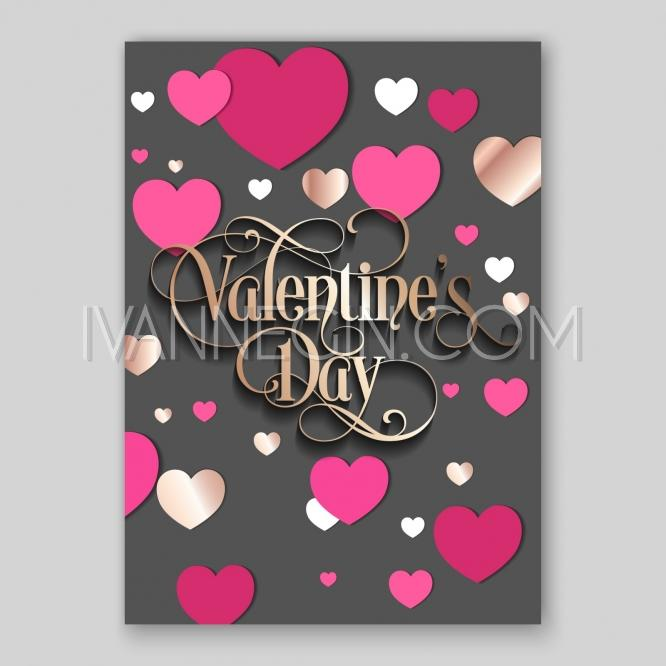 Valentine S Day Party Invitation With Paper Hearts And
