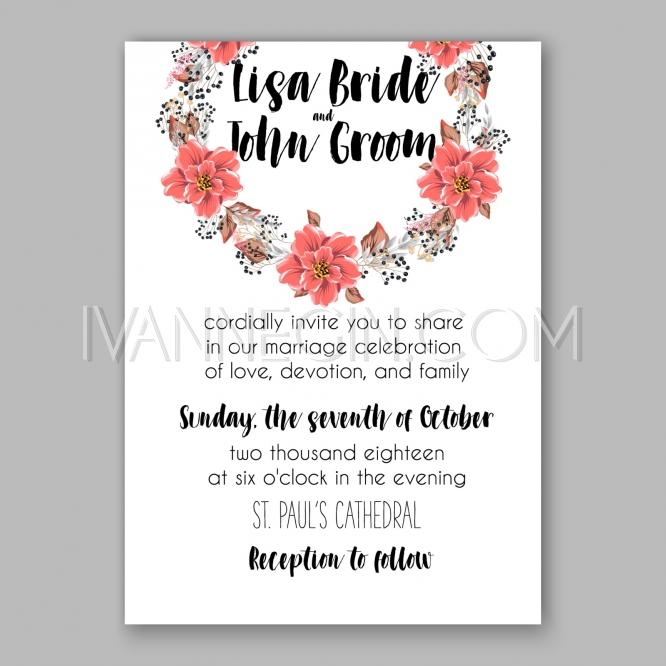 wedding invitation floral bridal shower invitation wreath with pink flowers anemone peony unique vector illustrations christmas cards