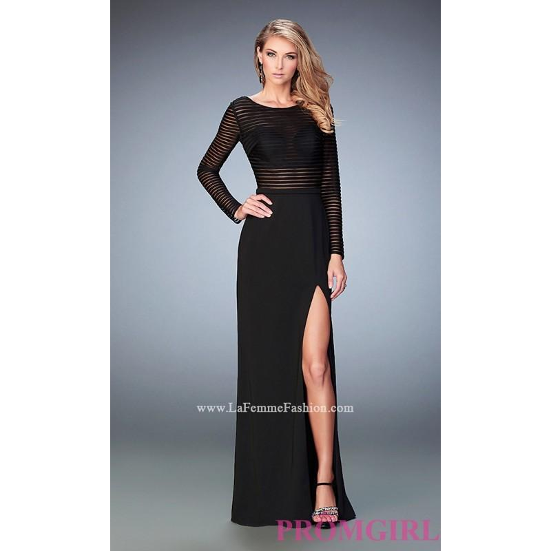 Long La Femme Black Long Sleeve Prom Dress - Discount Evening ...