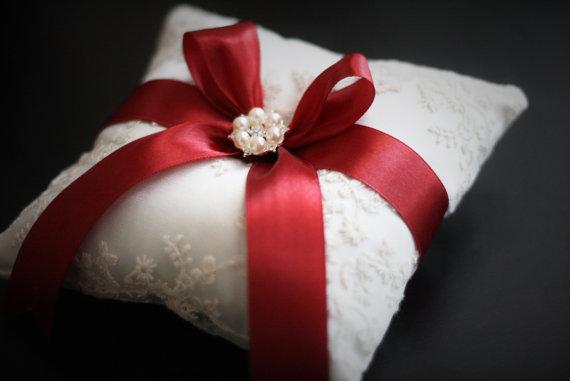 Wedding - Marsala Ring Bearer Pillow  Burgundy Ring Holder  Red Wedding Pillow  Burgundy Bearer  Marsala Ring Bearer  Ivory Lace Bearer