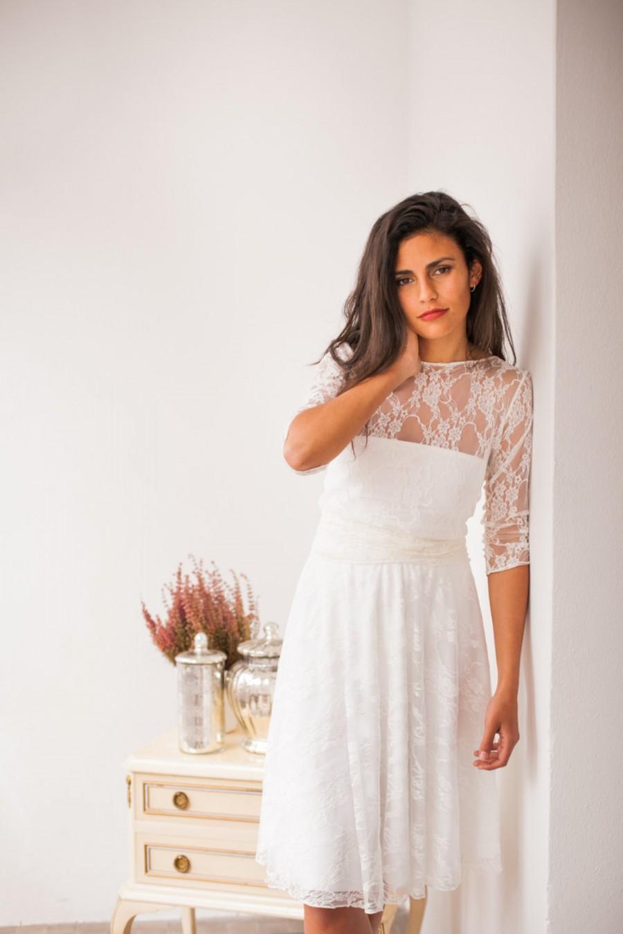 Boda - Long sleeve lace wedding dress, full lace wedding dress, short wedding dress, open back wedding dress, wrap dress, lace wedding dress, ivory