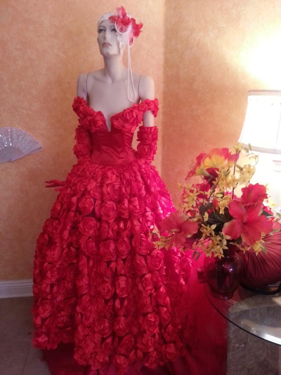 Wedding - Scarlet Rose Goddess Middle Eastern Inspired Off The Shoulder Bridal Wedding Formal Ball Gown
