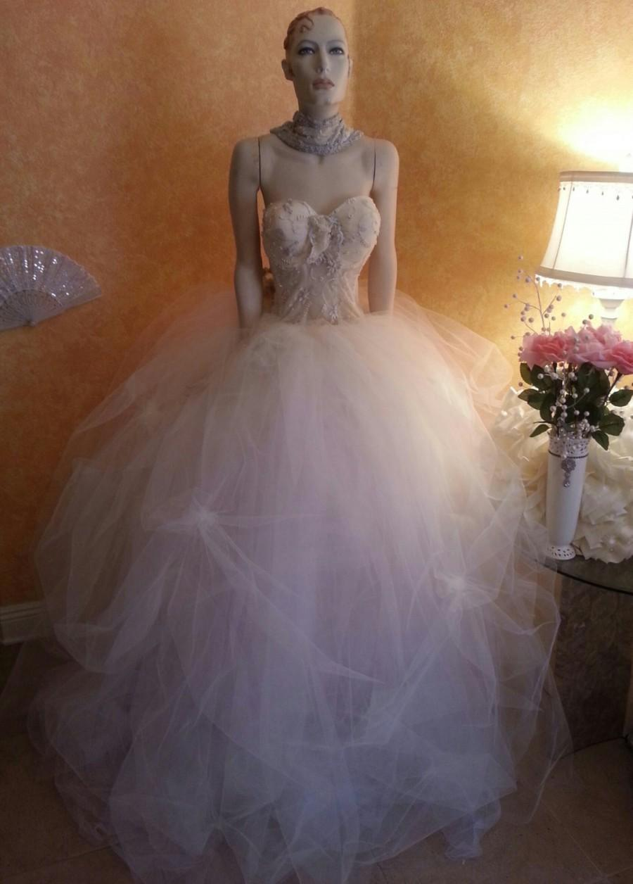 Mariage - Ivory Goddess Wedding Ball Gown With Beaded Sheer Corset Tulle Skirt Pearl Embellished Pickups Victorian Party
