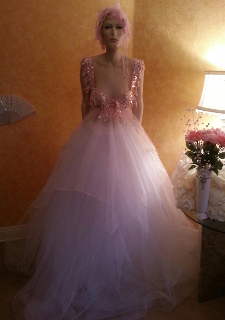 Mariage - Gorgeous Pink & White Fairy Goddess Crystal Sequined Tulle Bridal Ballgown Bohemian Beach Garden Party