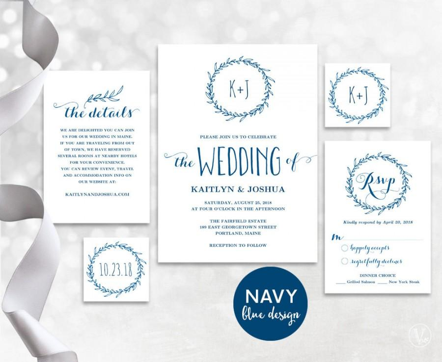 Navy Blue Wedding Invitation Template, Wedding Invitation Printable ...