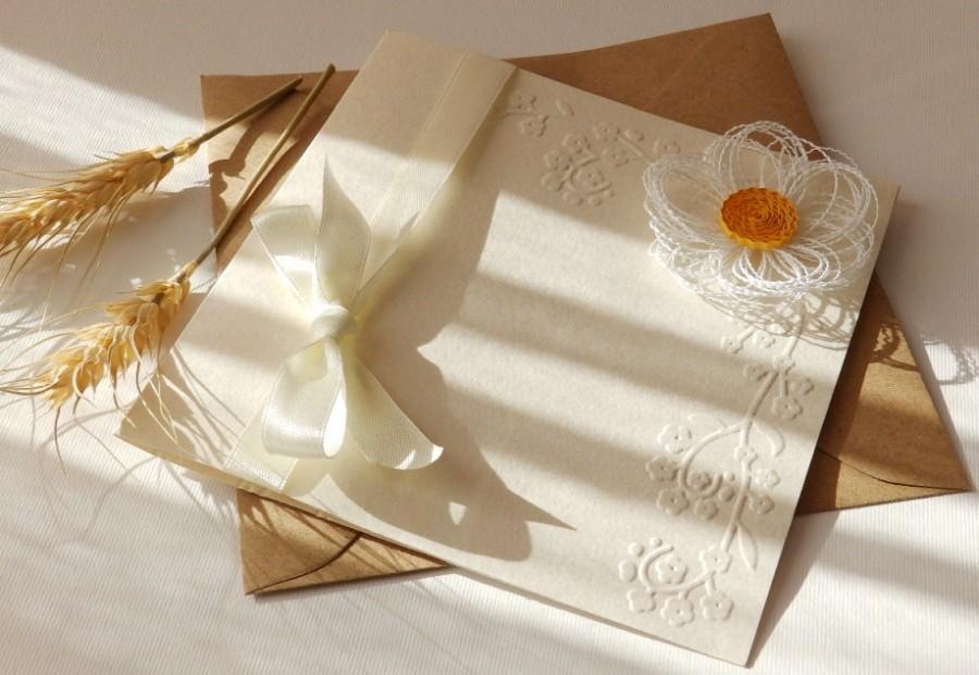 Wedding - Handmade white daisy invitation/Elegant spring invitation/Unique invitation/Ivory wedding invite/Rustic daisy invite/Bridal shower invite