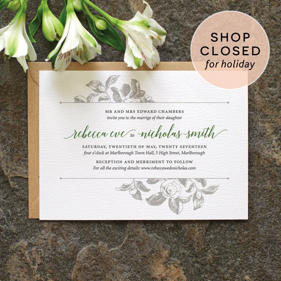 Botanical Wedding Invitation / \'Vintage Rose\' Modern Calligraphy ...