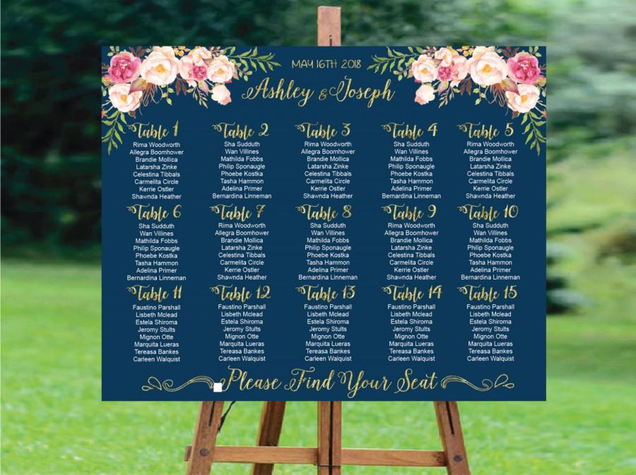 زفاف - Wedding Seating Chart, Wedding Seating Chart Printable, Wedding Seating Plan,Gold Wedding Seating Chart Template, Navy Wedding Seating Chart