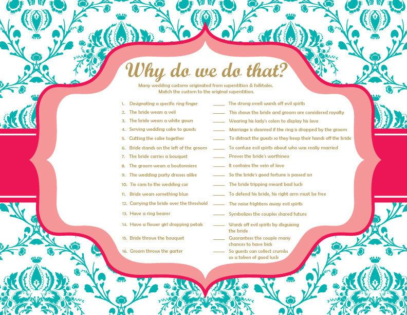why do we do that bridal shower game answer key included instant download