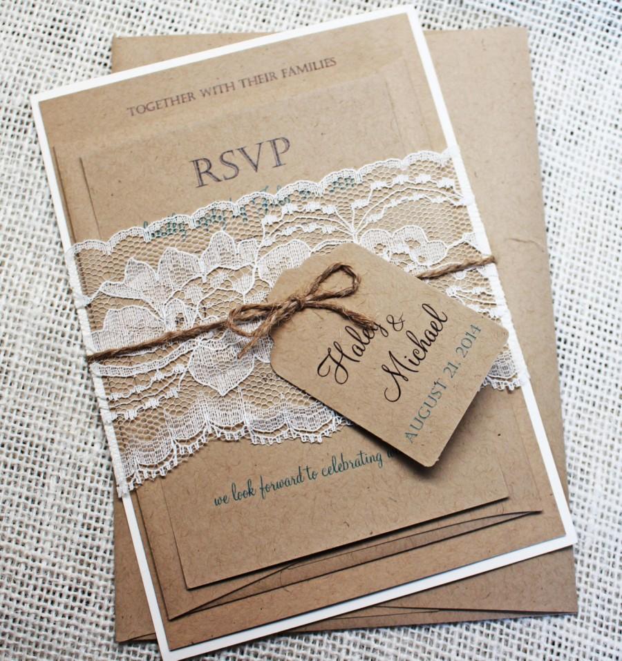 Свадьба - Rustic Wedding Invitation, Lace Wedding Invitation, Rustic Lace Wedding Invitation, Shabby Chic Wedding Invitation Suite.