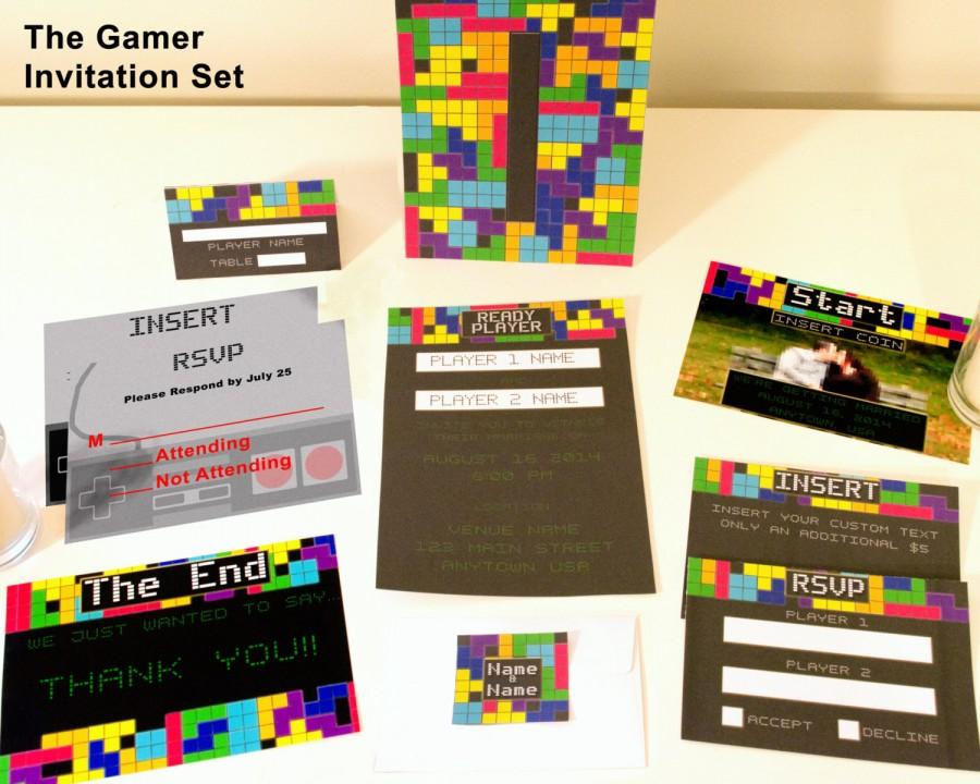 Wedding - The Gamer Video Game Themed Customized Wedding Invitation Suite; Nerdy Fun for Offbeat Weddings; 8-Bit Nintendo, Tetris Inspired; Printable