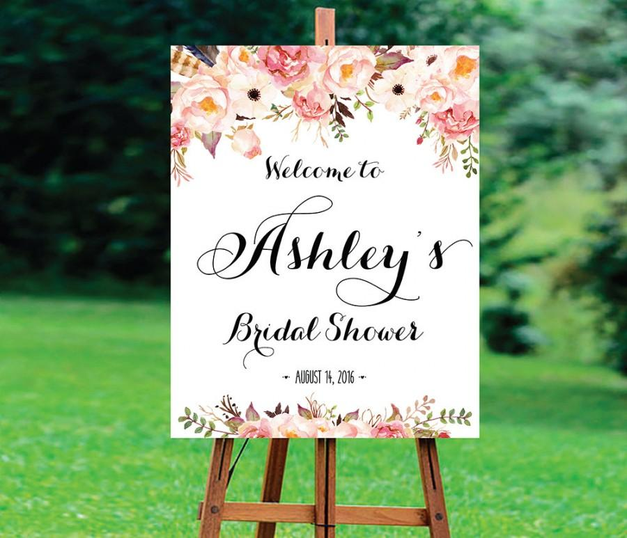 Mariage - Bridal Shower Welcome Sign, Bridal Shower sign, Bridal Shower decoration, welcome wedding sign, Bridal shower invitation, WSC-6idd