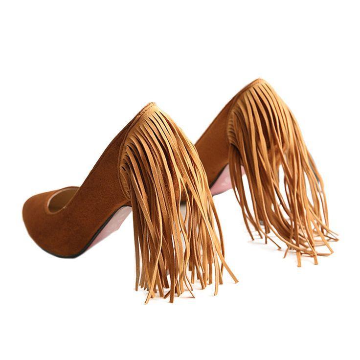زفاف - Tassel High Heel Women Thin Shoes Fluff Low-cut Wedding Shoes Plus Size Yellow