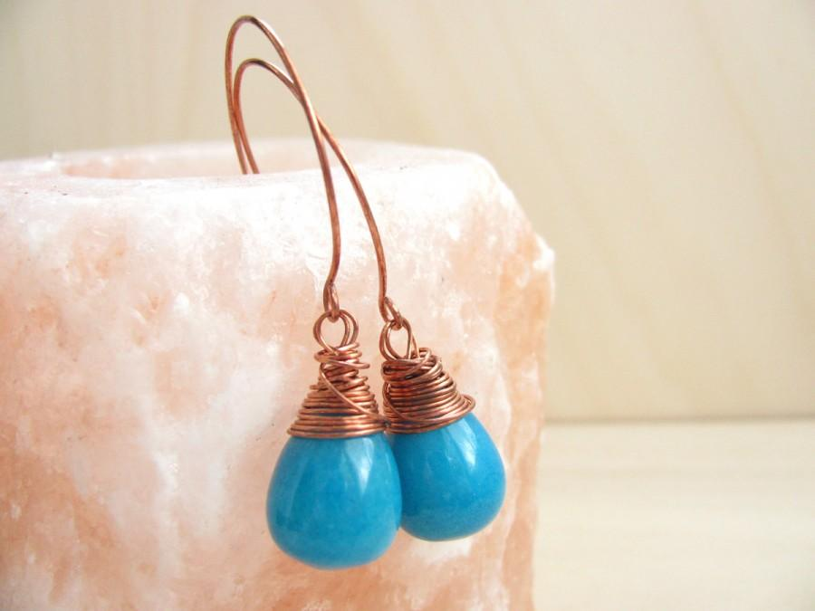 زفاف - Teal blue Earrings - Copper and  Teal Blue Glass Beads - Handmade Copper Earwires