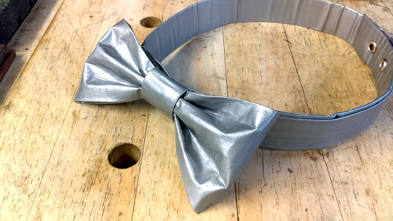 Düğün - REDNECK Solid Duct Tape Bow Tie - Fancy GEEK Wedding, Grooms Men - Clip On - Adult Bow Tie - Nerd Neck Tie - Grey Bow Tie - Gray Bow Tie