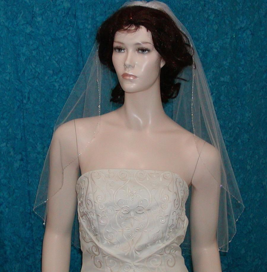 Mariage - Beaded Edge White  Bridal Veil Elbow  length  edged with Glittering Swarovski Crystals and Delicate Rocaille Beads