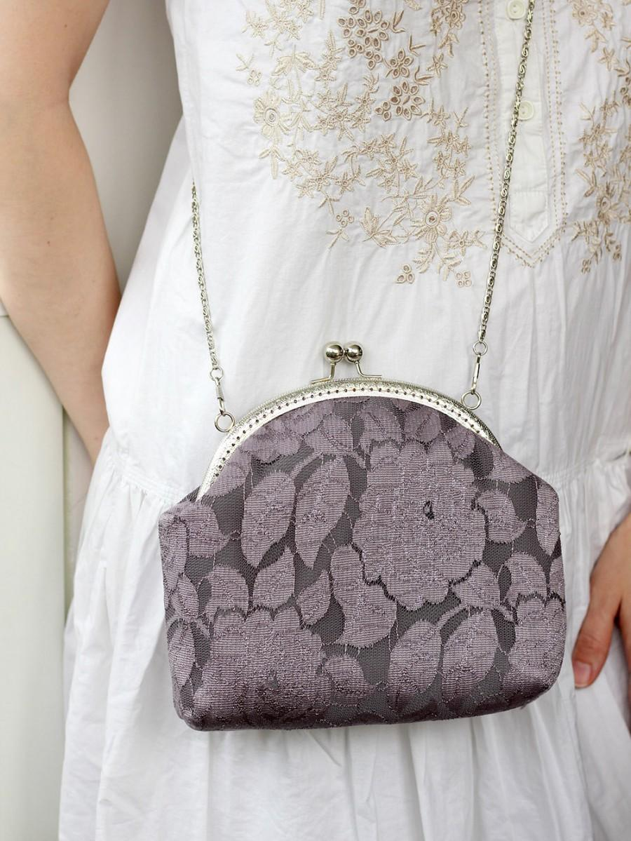 Mariage - Lace Bridesmaid Clutch Gray, Wedding Bridal Clutch, Wedding Bridesmaid Lace Handbag, Clutch Wedding Bridesmaid Gift Clutch Evening / Loveka