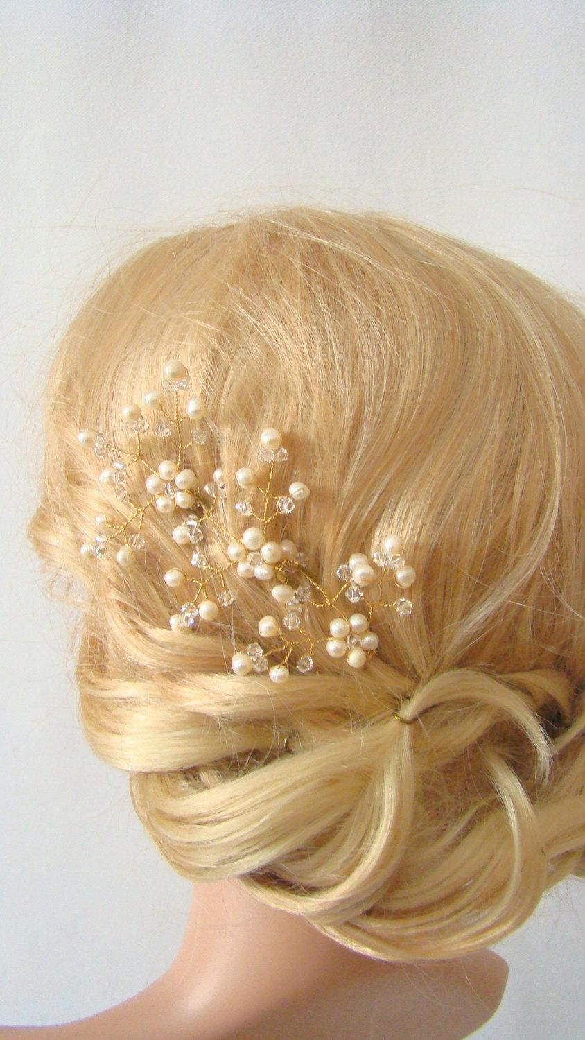 Wedding - Leaf Hair Pin, Freshwater Pearl Hair Pin, Pearl Hair Piece, Bridal Hair Pin, Wedding Hair Pin Set of 3, Gold Hair Pin, Gold Hair Accessories