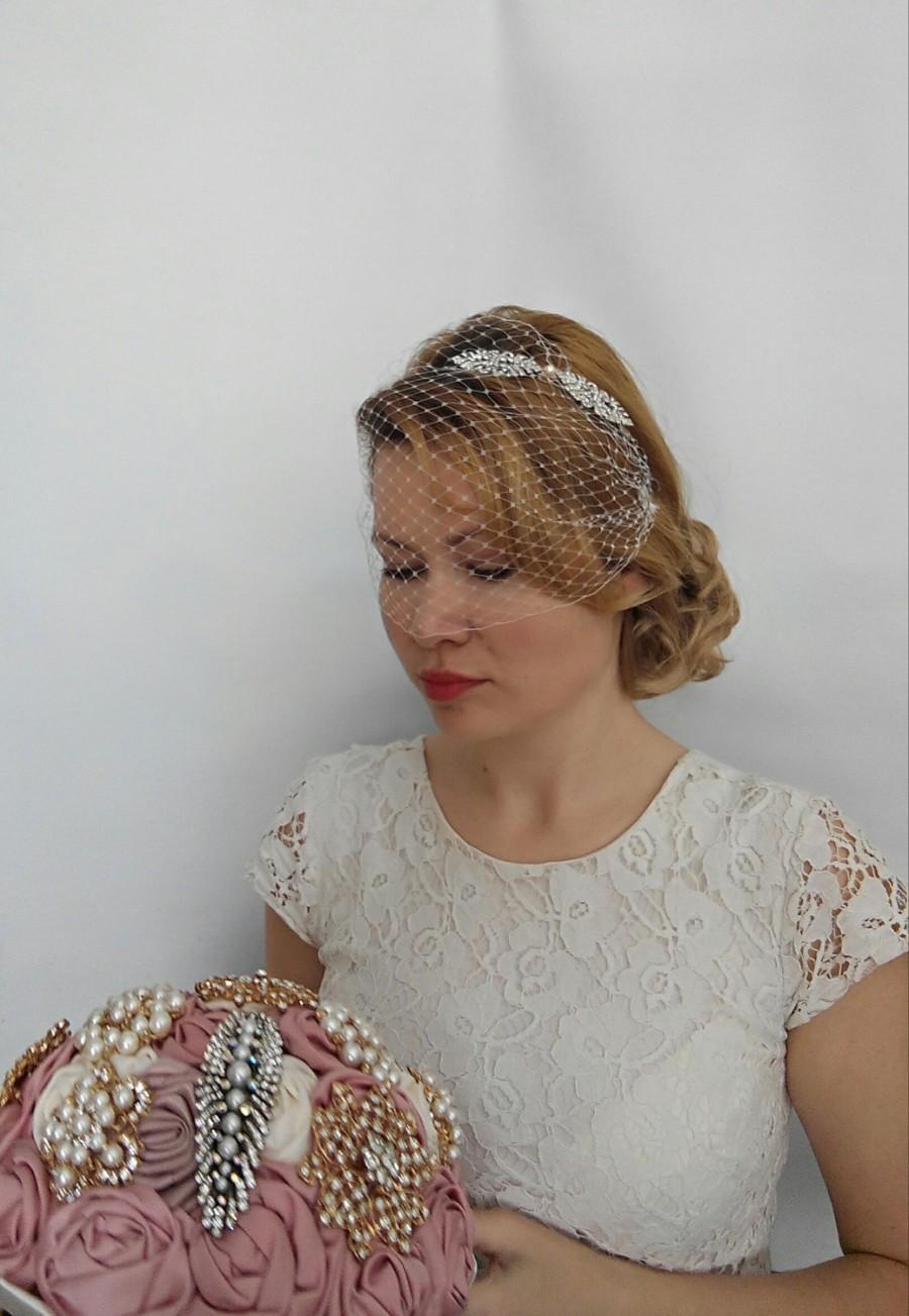 Birdcage Veil Headband Blusher Wedding Bridal With Rhinestone And Headpiece Art Deco