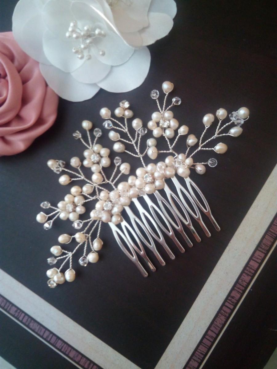 Mariage - Freshwater Pearl Bridal Hair Comb, Wedding Hair Comb, Bridal Comb with Pearls Hair Comb for Wedding, Pearl Hair Comb Hair Comb Wedding Vicki