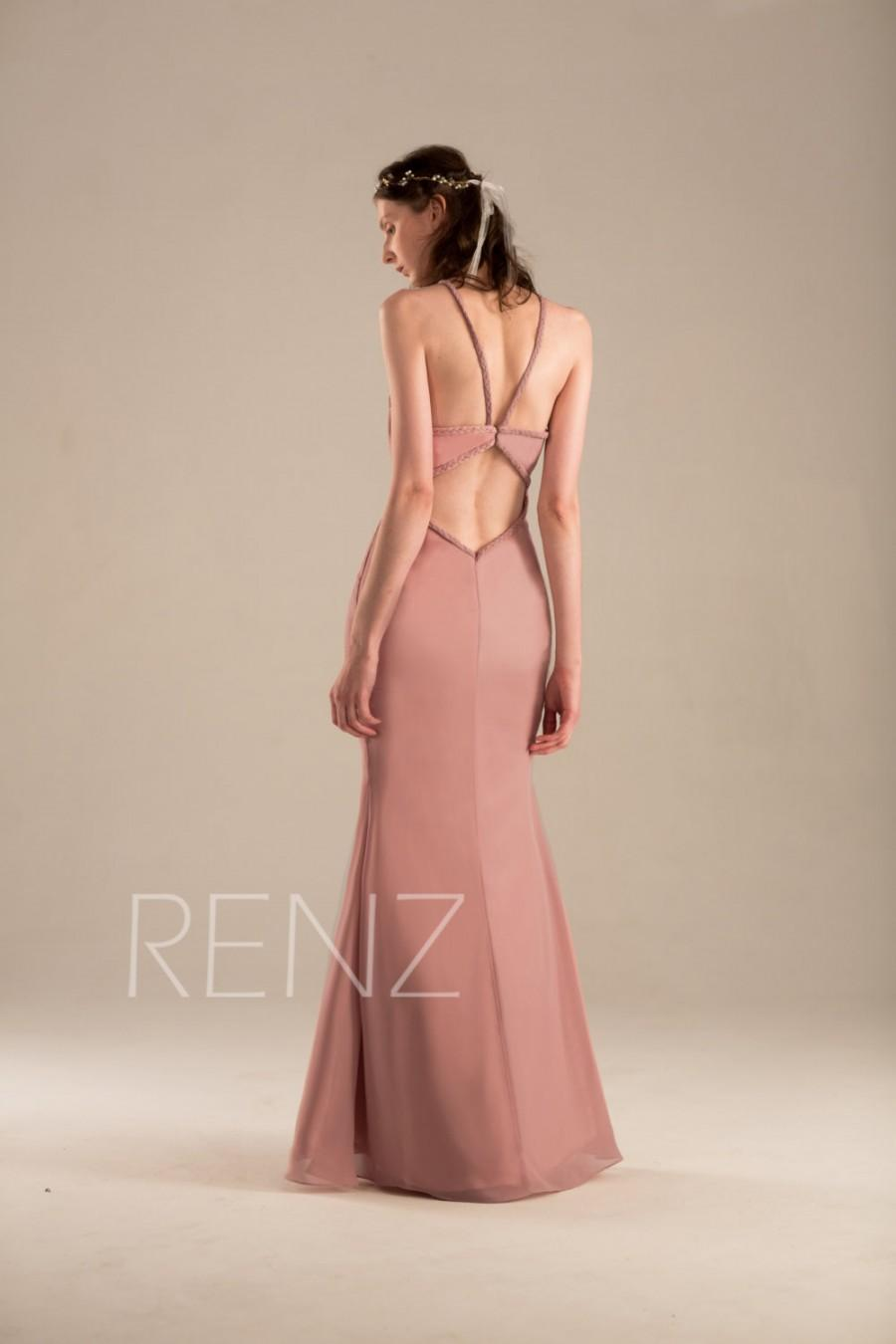 Wedding - 2016 Dusty Thistle Bridesmaid dress, Fitted Wedding dress, Spaghetti Strap Long Formal dress Backless, Pink Prom dress floor length (H026)
