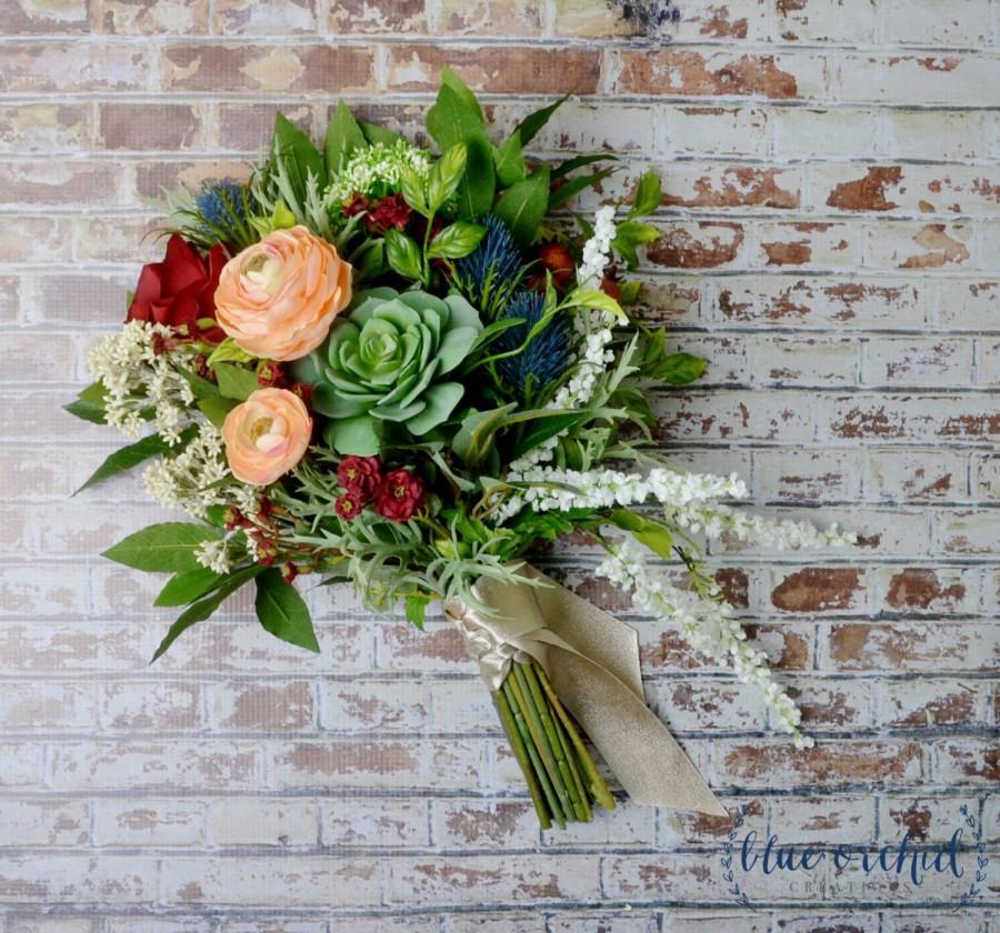 Wedding Bouquet Artificial Silk Flower Succulent Boho Bridal Colorful Succulents
