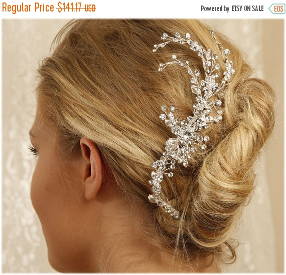 Wedding - Bridal headpiece, bridal comb, crystal comb, Crystal Art Deco hair jewelry, Bridal Rhinestone Hair comb,  Wedding hair accessory