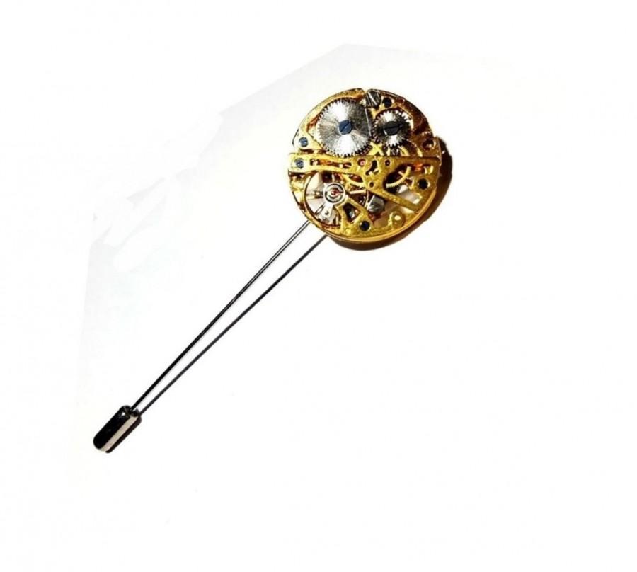Hochzeit - Steampunk Lapel Pocket Watch Movement Boutonniere Wedding Lapel Pin Steam Punk Stick Pin Buttonhole Wedding Groomsmen Groomsman Corsage Posy