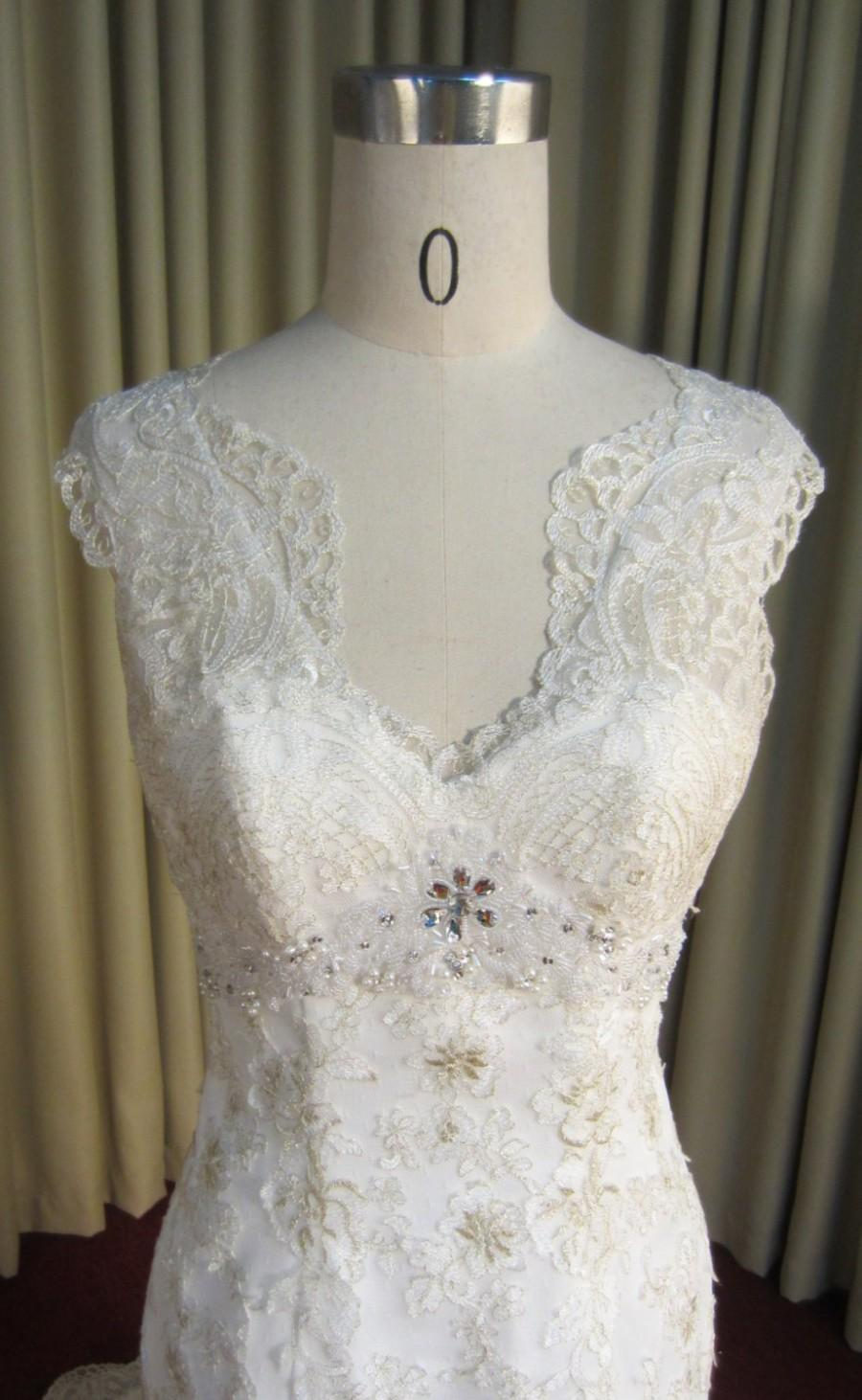 Mermaid Sweetheart Gold Embroidered Lace Wedding Dress With Embellishments Unique
