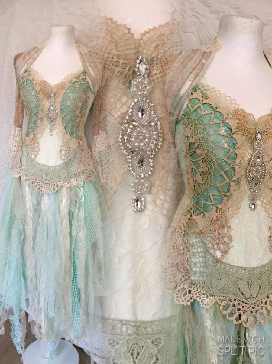 Mariage - Boho wedding dress aqua colors, bridal dress for mermaids , Wedding dress turqoise fairy, mermaid wedding dress, rawrags